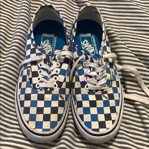 Blue and white checkered vans sneakers 8.5w/6.5m